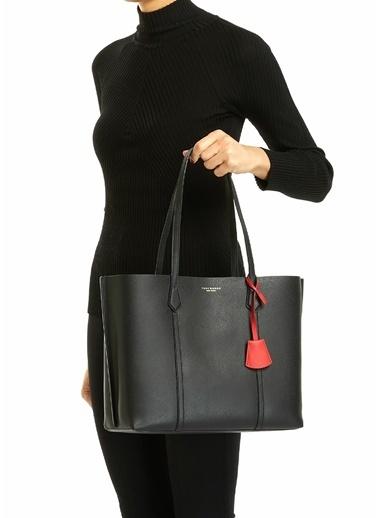 Tory Burch Tory Burch  Logo Detaylı Kadın Deri Alışveriş Çantası 101624094 Siyah